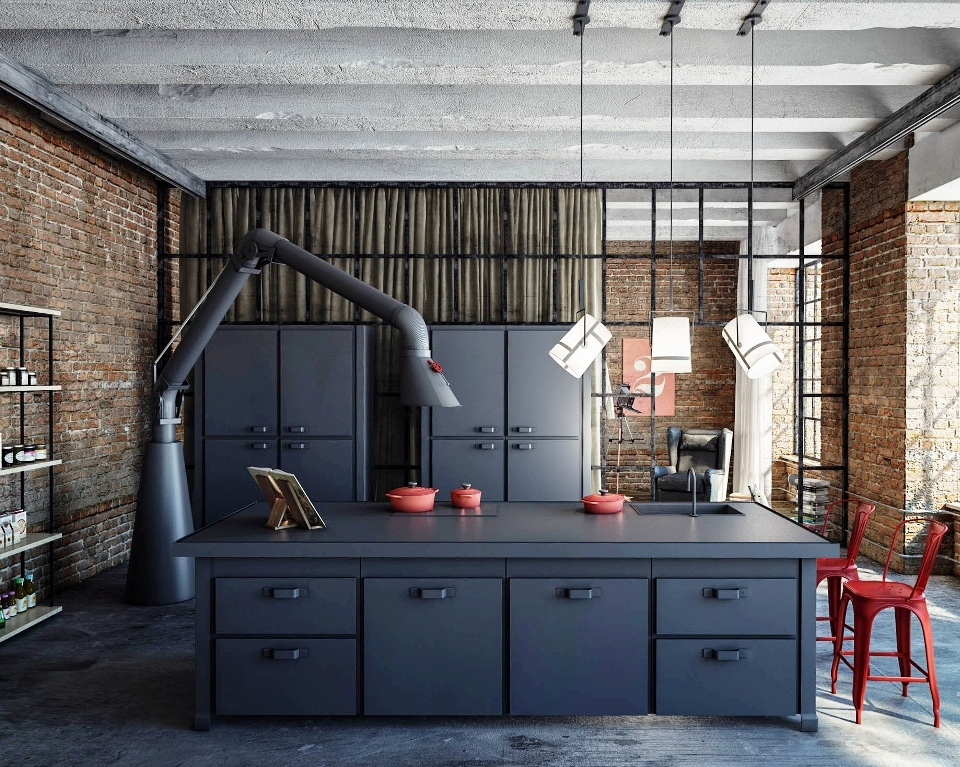 20 inspirational industrial kitchen design and ideas for Black industrial kitchen