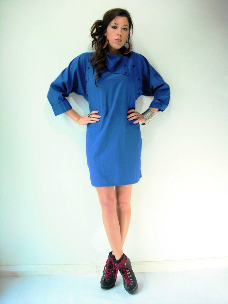 Blue Funnel Neck Dress