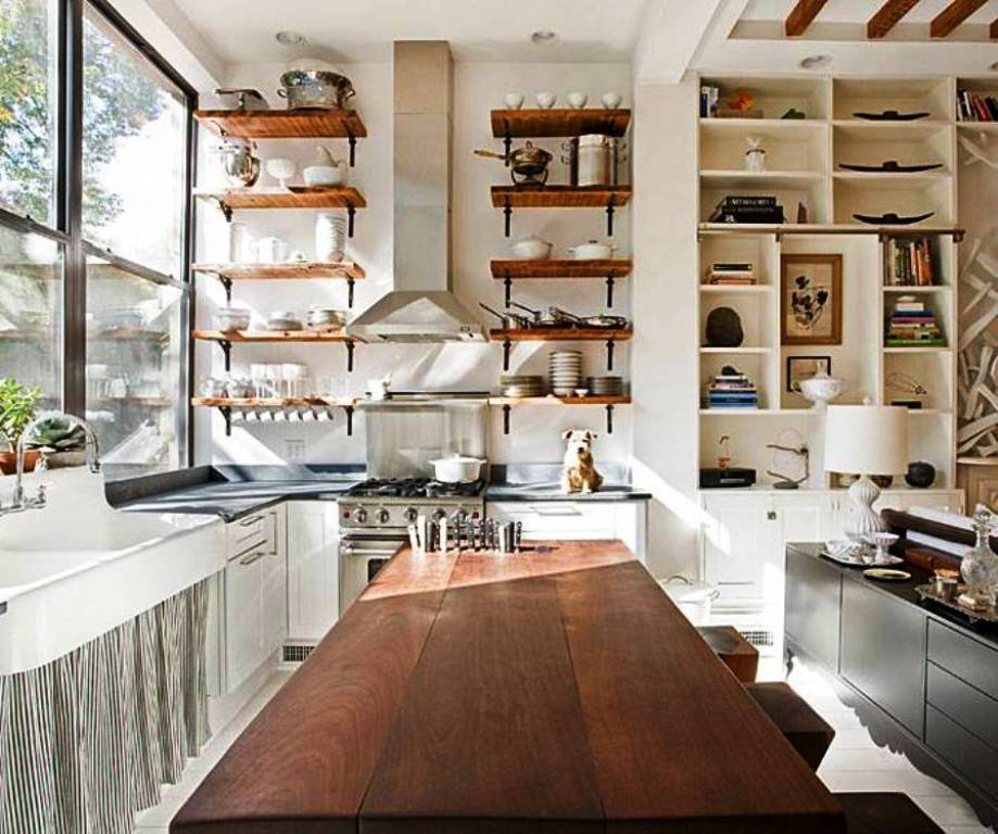 22. Open Shelving Farmhouse kitchen