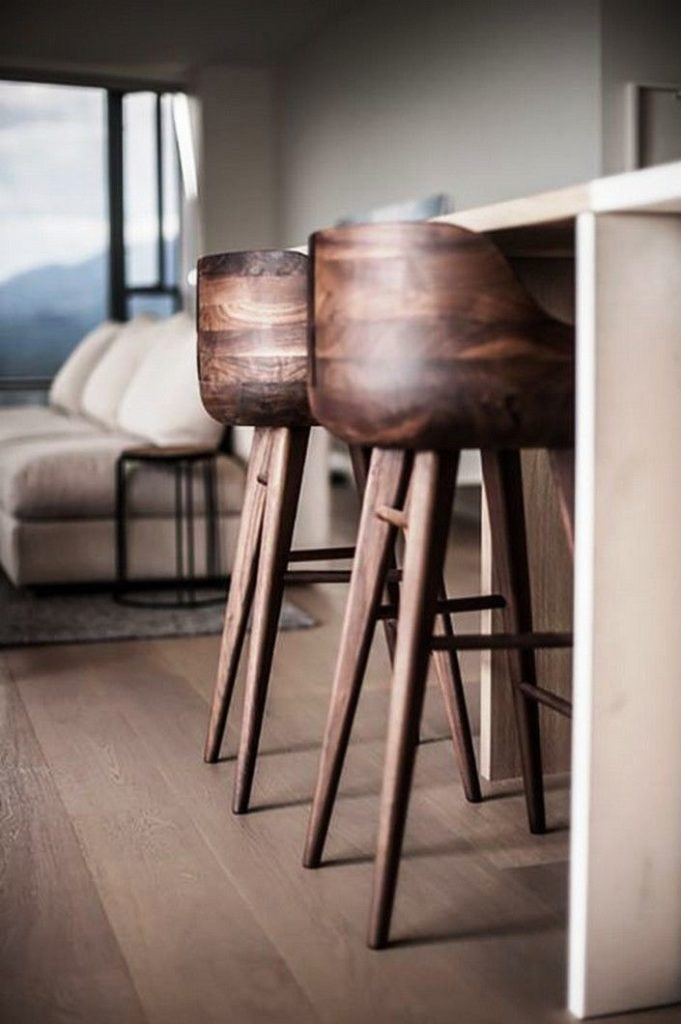 2. Wooden Base Kitchen Stools