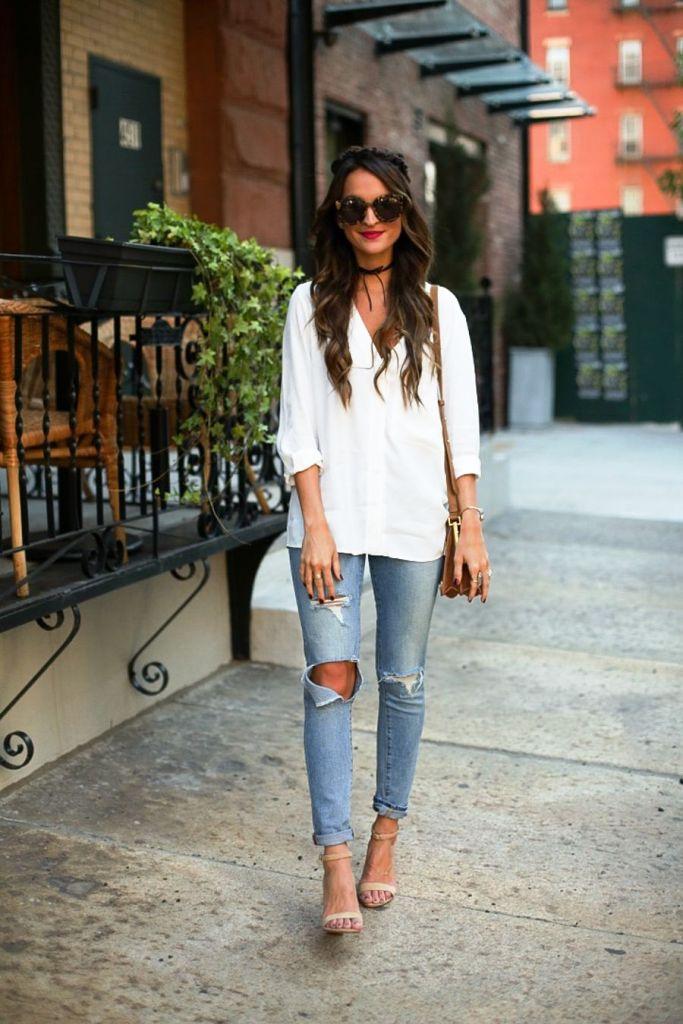 boyfriend jeans with blouse