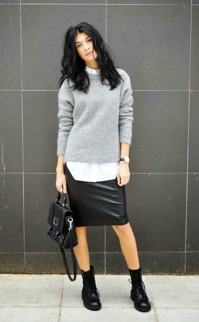 Leather Skirt Outfits With Sweater