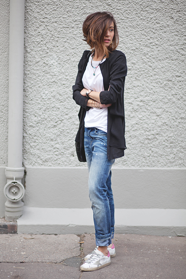 Tomboy Style with White Sneakers