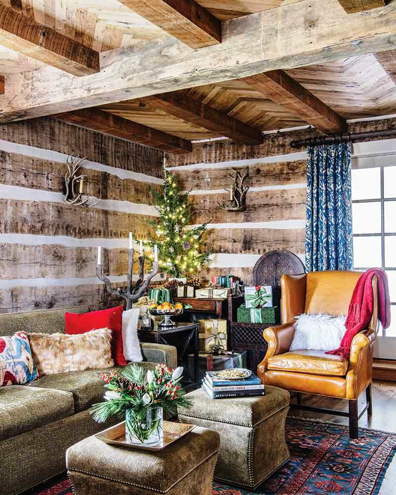 Country Cottage Christmas Living Room