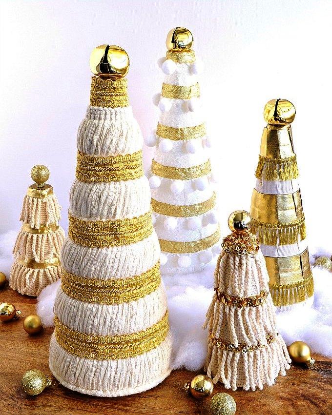 Sequined Christmas Trees Centerpiece Ideas