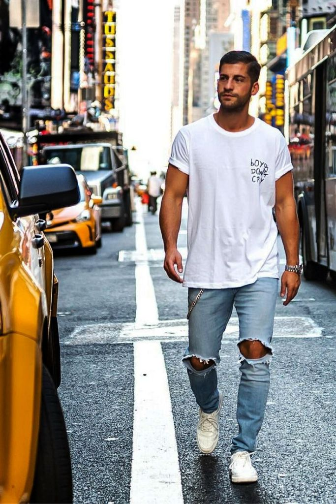 Knee Crop Designer Men Jeans Ideas