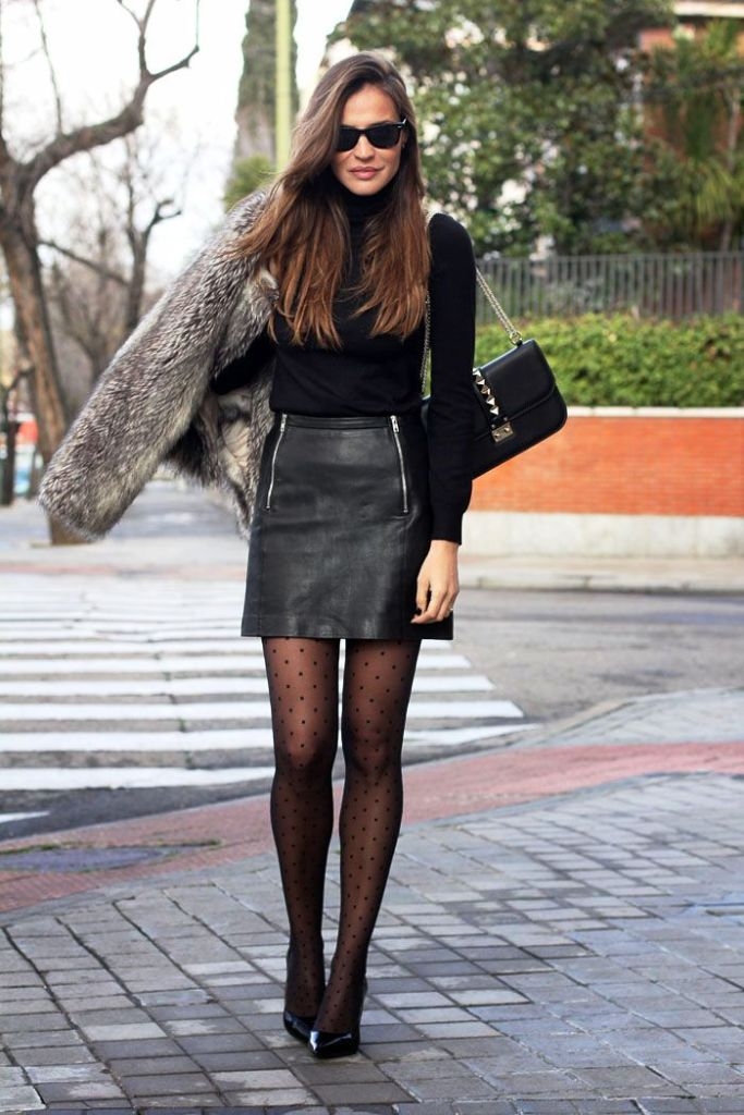 Mini Leather Skirt Outfits