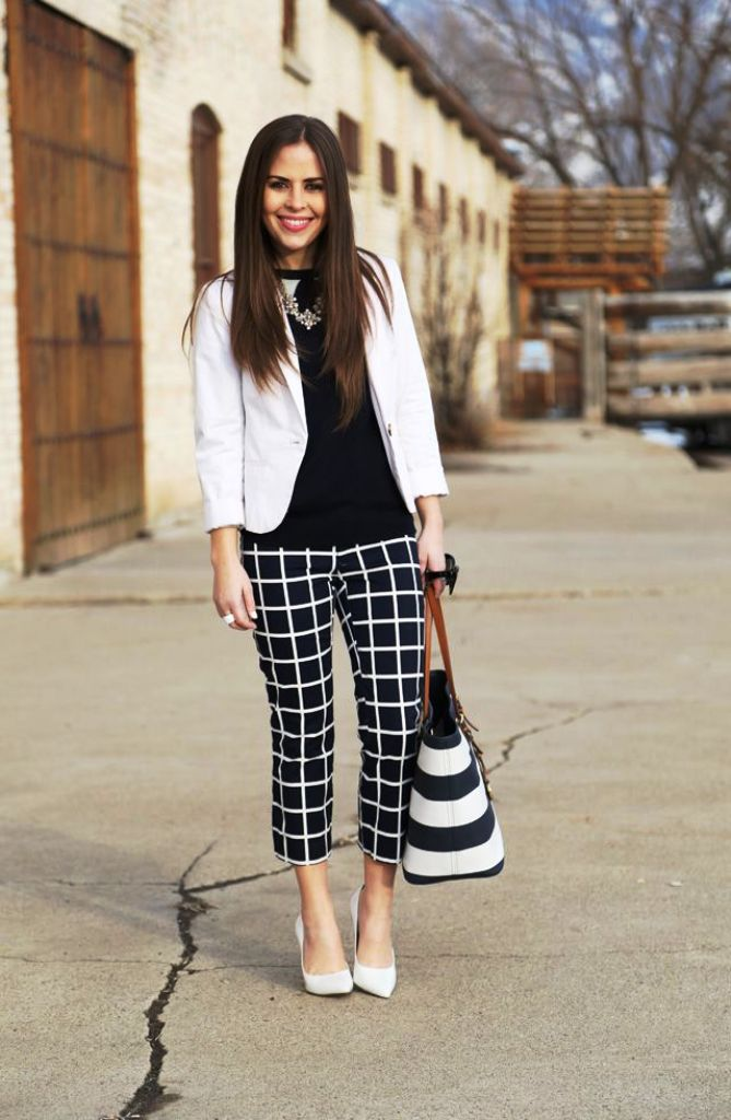 Plaid Style Striped Pants For Women